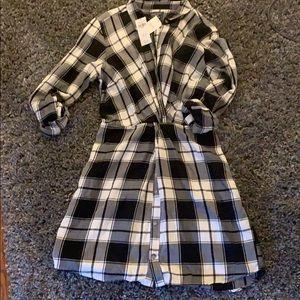 NWT Abercrombie button front plaid dress